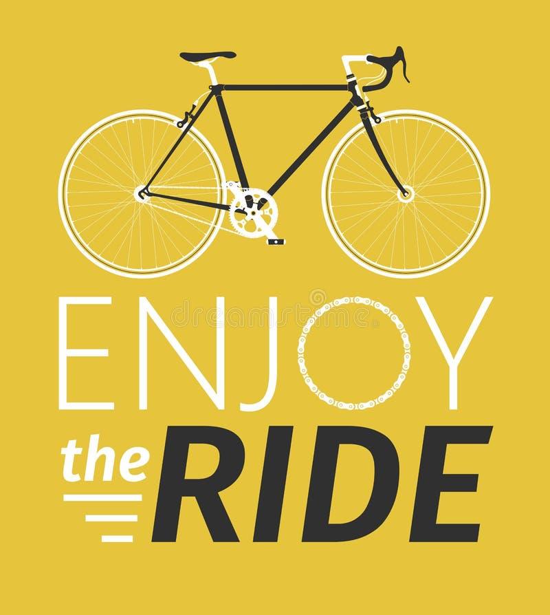 A cidade clássica dos homens, bicicleta da estrada com aprecia o título do passeio, a ilustração detalhada do vetor para o cartão ilustração do vetor