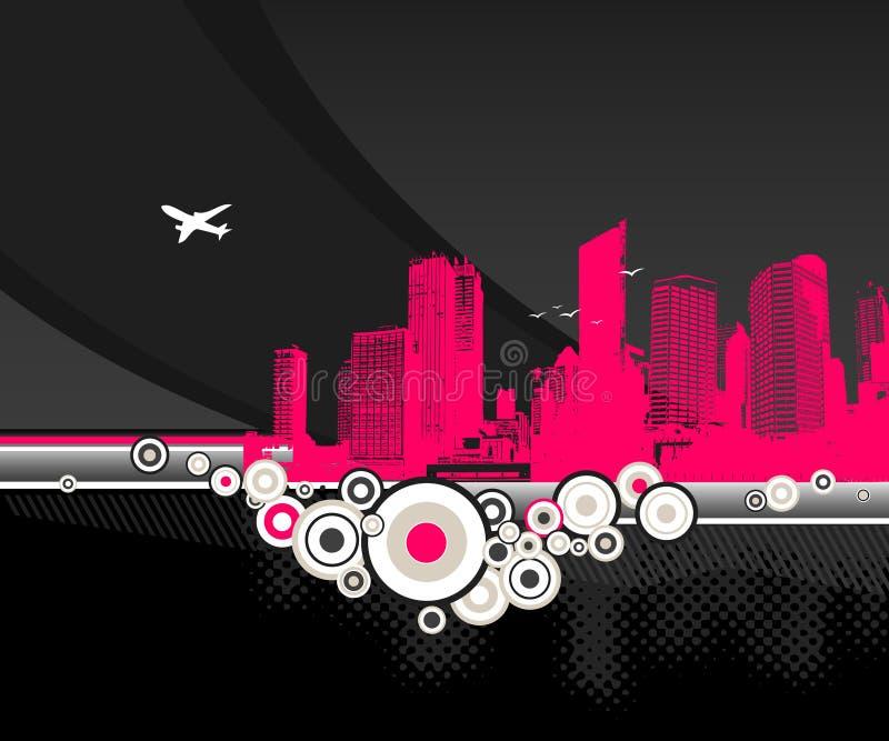 Cidade com círculos no fundo preto ilustração do vetor