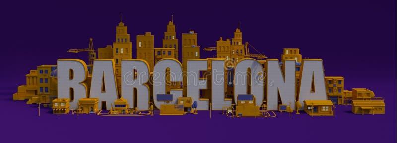 cidade com construções, nome da rendição 3d de rotulação de Barcelona ilustração stock