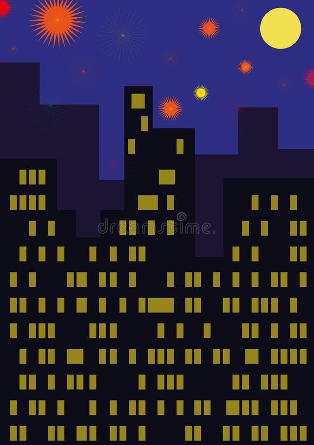 A cidade com fogos de artifício fotografia de stock royalty free