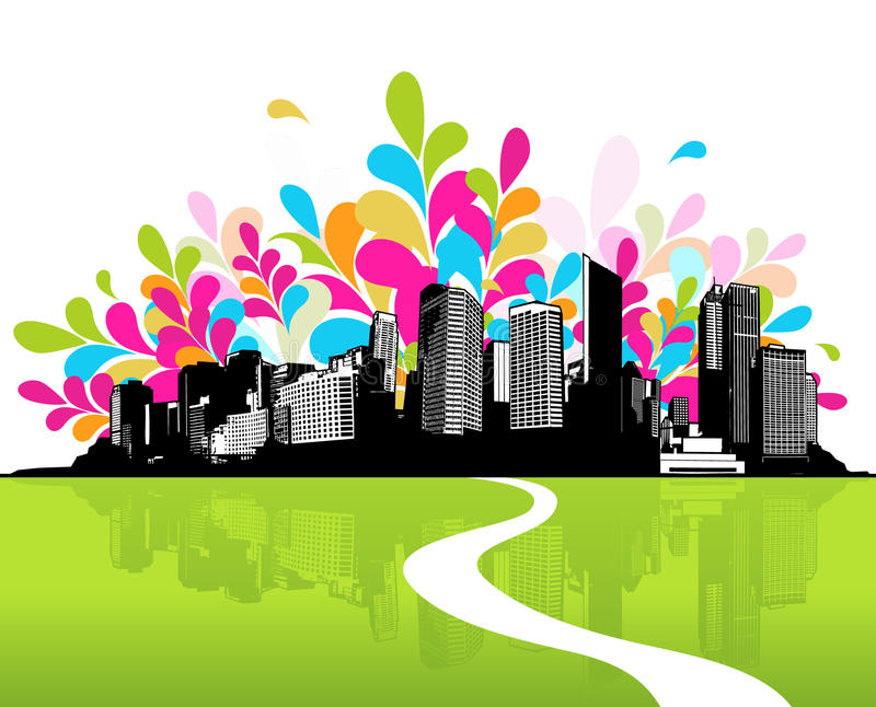 Cidade com grama verde. ilustração royalty free