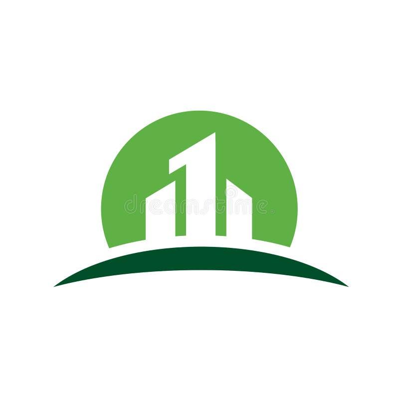 Cidade com logotipo do vetor do número um ilustração do vetor