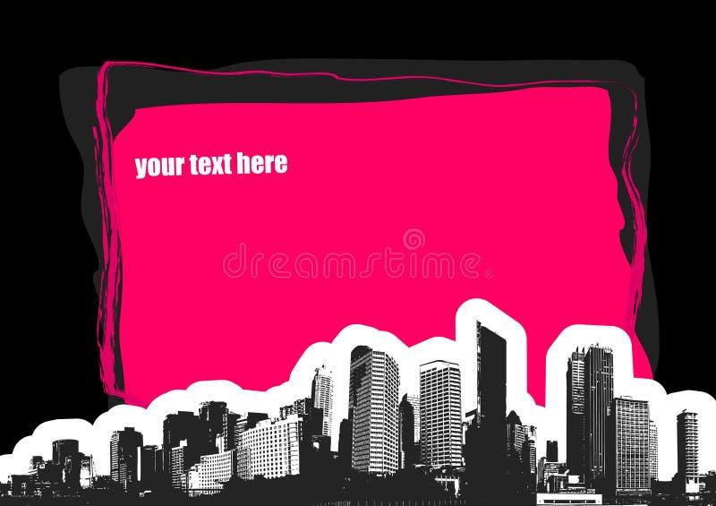 Cidade com lugar para o texto. Vect ilustração stock