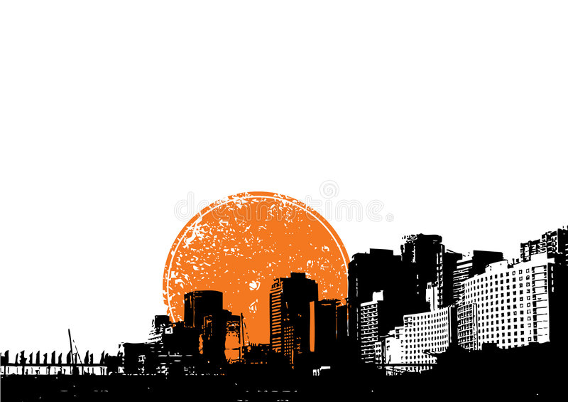 Cidade com sol alaranjado. Vetor ilustração royalty free