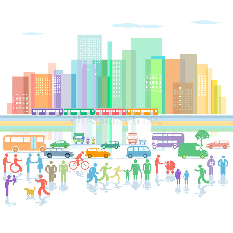 Cidade com tráfego e pedestres ilustração stock