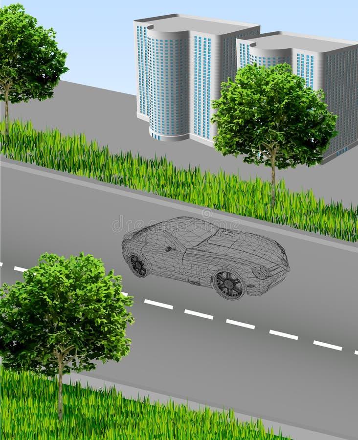 Download Cidade?? Com Estrada, Carro, Casas, Grama, árvores Ilustração do Vetor - Ilustração de outdoor, grade: 29839088