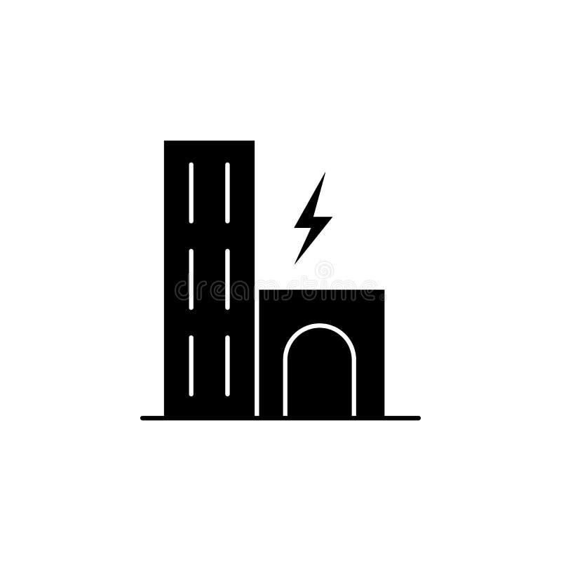 Cidade, construção, ícone do relâmpago no fundo branco Pode ser usado para a Web, logotipo, app móvel, UI UX ilustração stock