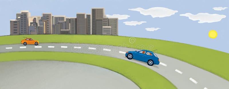 Cidade contra o céu azul e o campo verde Dois carros na estrada Pastoral urbano ilustração stock