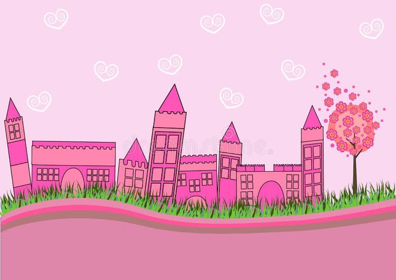 Cidade cor-de-rosa ilustração royalty free