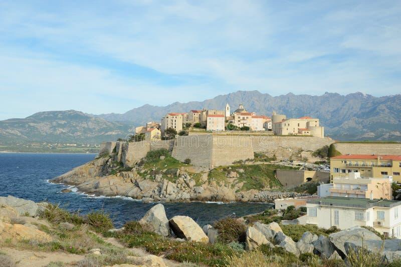 Cidade costeira corsa Calvi foto de stock royalty free
