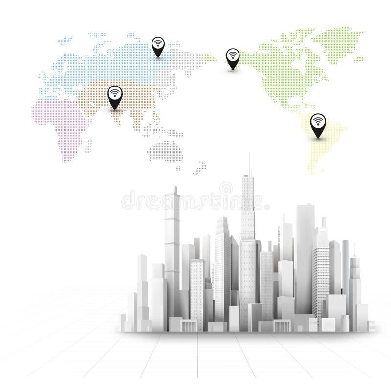 cidade 3D ilustração stock