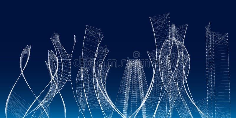 cidade 3d abstrata poligonal Fundo futurista do conceito Realidade virtual da metrópole Ilustração do vetor ilustração royalty free