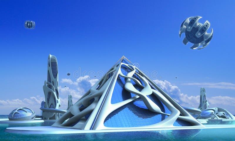 cidade 3D futurista com arquitetura orgânica ilustração royalty free