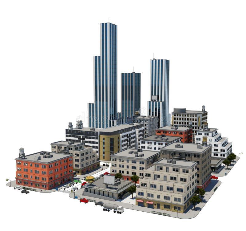 Cidade 3d pequena ilustração stock