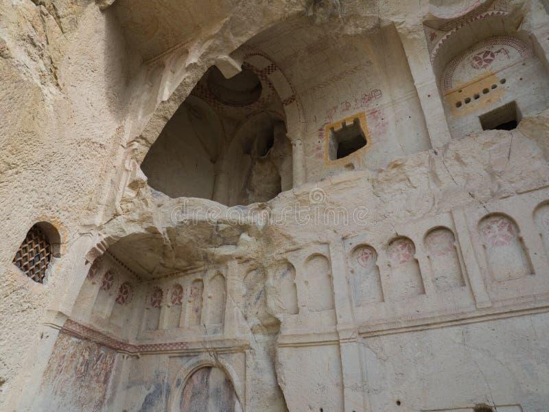 A cidade da caverna de Goreme, Cappadocia, prov?ncia de Nevsehir, Anatolia Region central de Turquia foto de stock