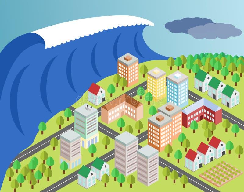 Cidade da coberta do tsunami ilustração stock