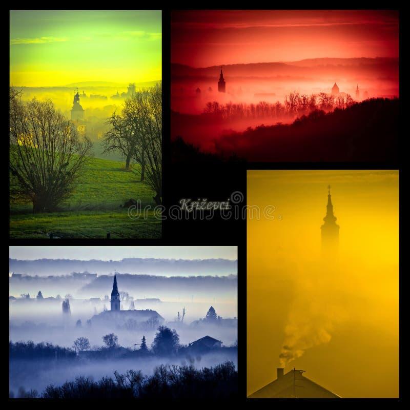 Cidade da colagem das cores de Krizevci quatro foto de stock