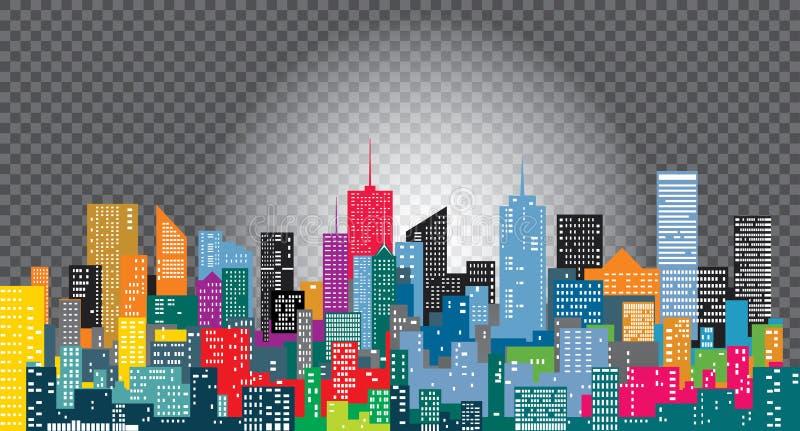 Cidade da cor do transporte ilustração royalty free
