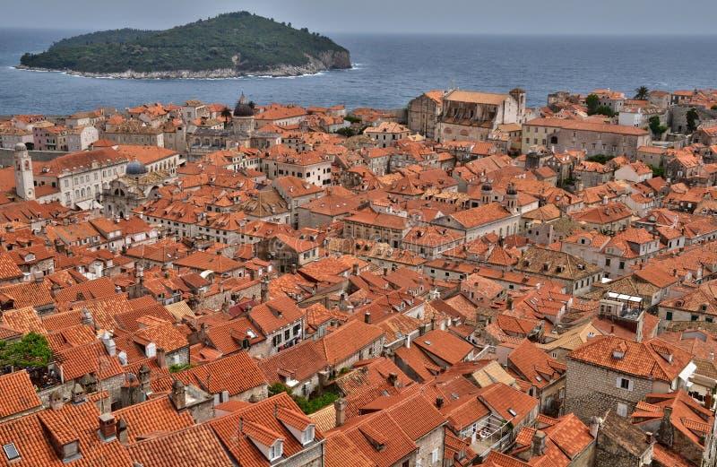 Cidade da Croácia, a velha e a pitoresca de Dubrovnik fotos de stock