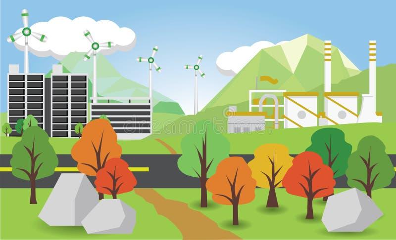 Cidade da ecologia e industrial imagens de stock