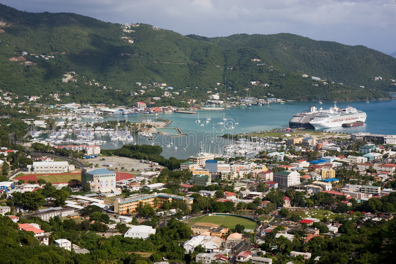 Cidade da estrada, Tortola imagem de stock