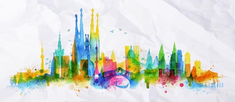 Cidade da folha de prova da silhueta ilustração stock