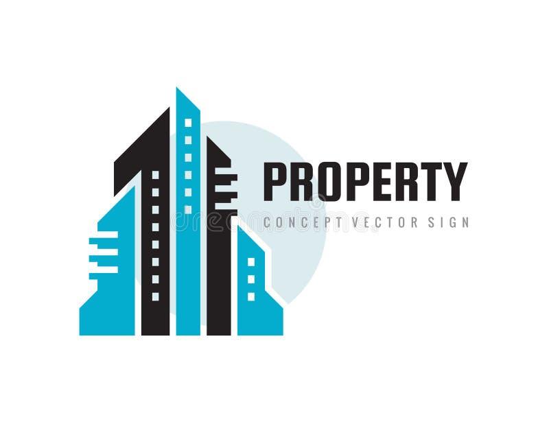 Cidade da cidade da gestão da propriedade - ilustração do vetor do molde do logotipo do conceito dos bens imobiliários Sinal de c ilustração royalty free