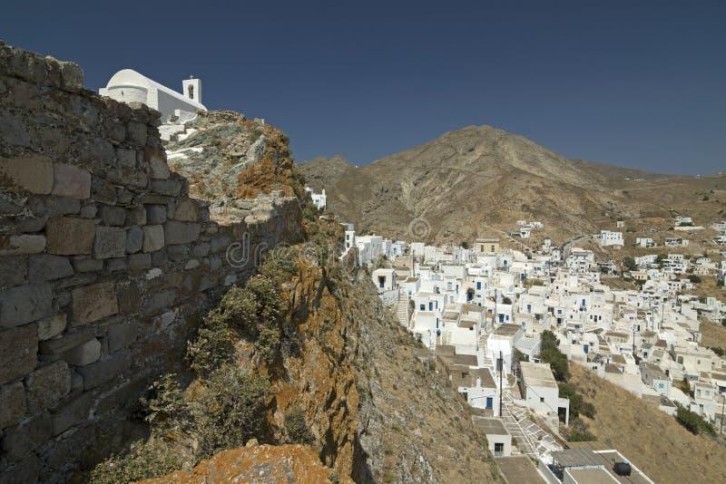 Cidade da ilha de Serifos, Cyclades, Grécia imagem de stock