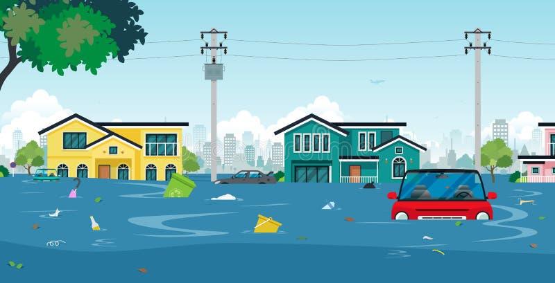 Cidade da inundação ilustração do vetor