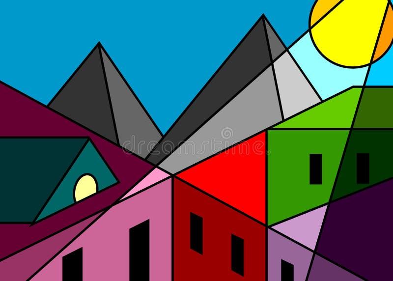 Cidade da janela de vidro colorido ilustração do vetor