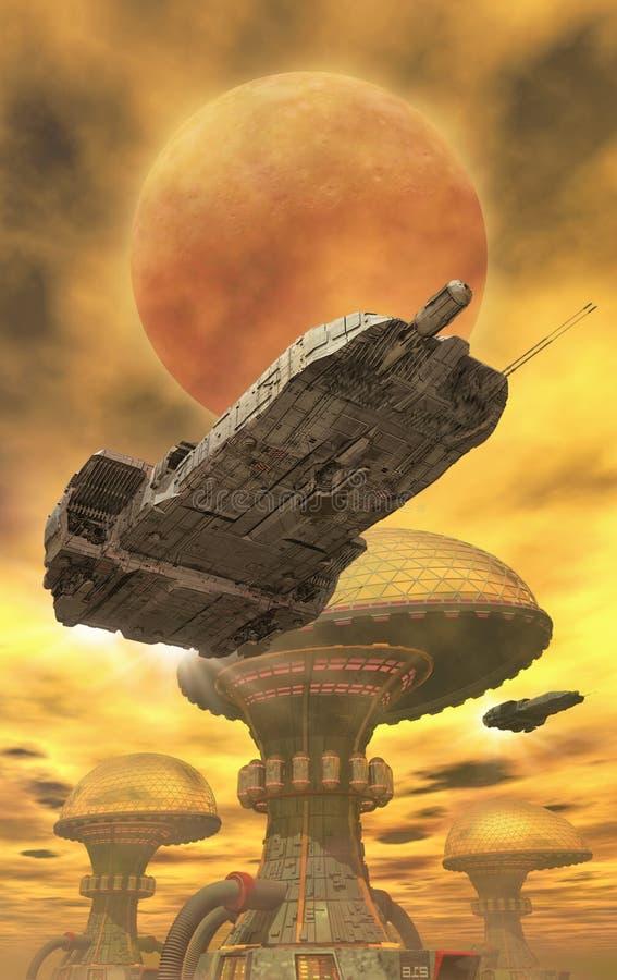 Cidade da nave espacial e do deserto ilustração do vetor