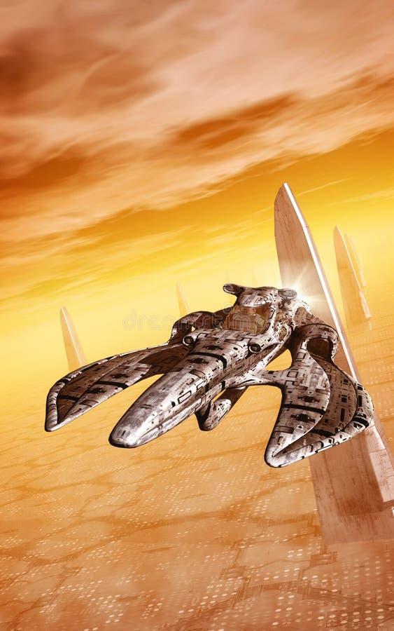 Cidade da nave espacial e do planeta ilustração stock