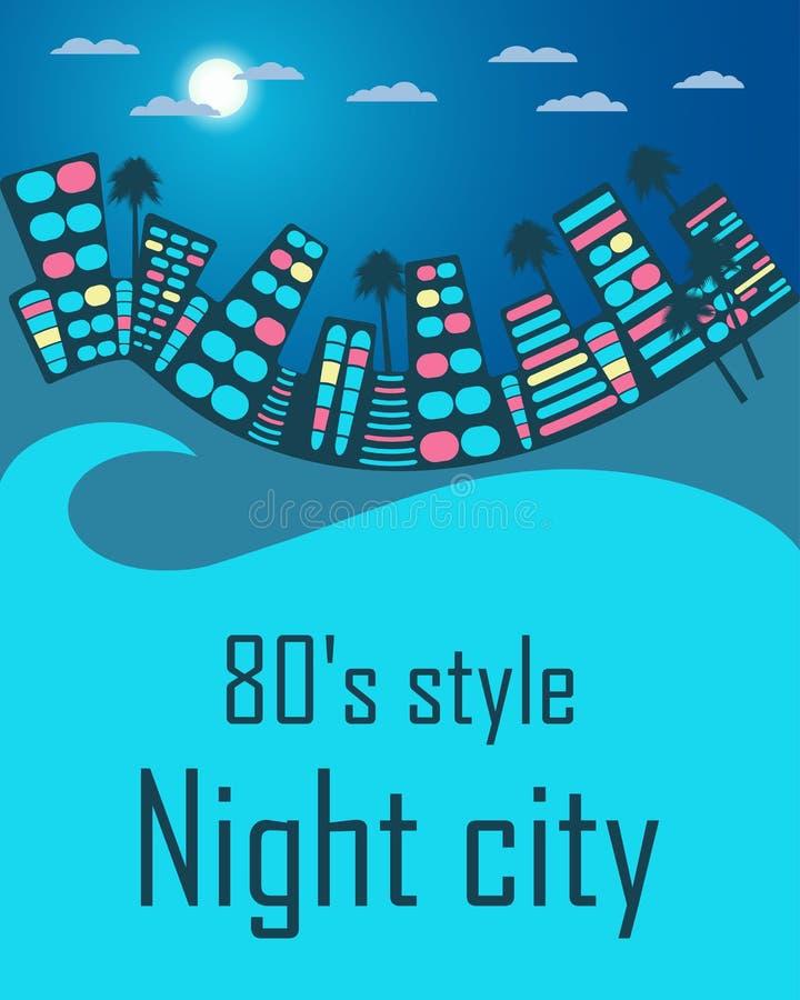 Cidade da noite ao estilo dos anos 80 Espaço para o texto ilustração royalty free