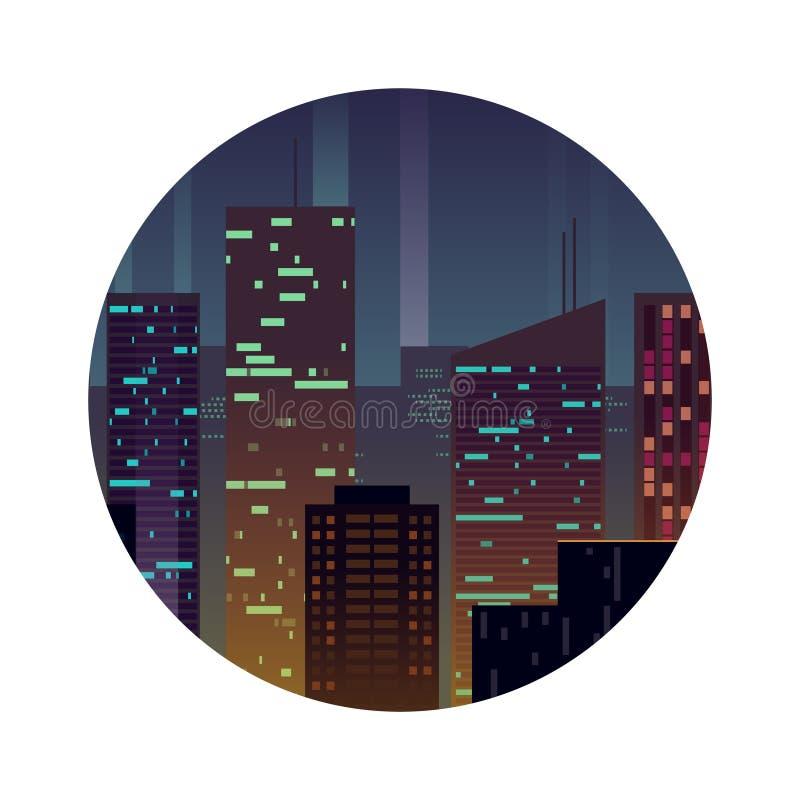 Cidade da noite com construções de brilho ilustração royalty free
