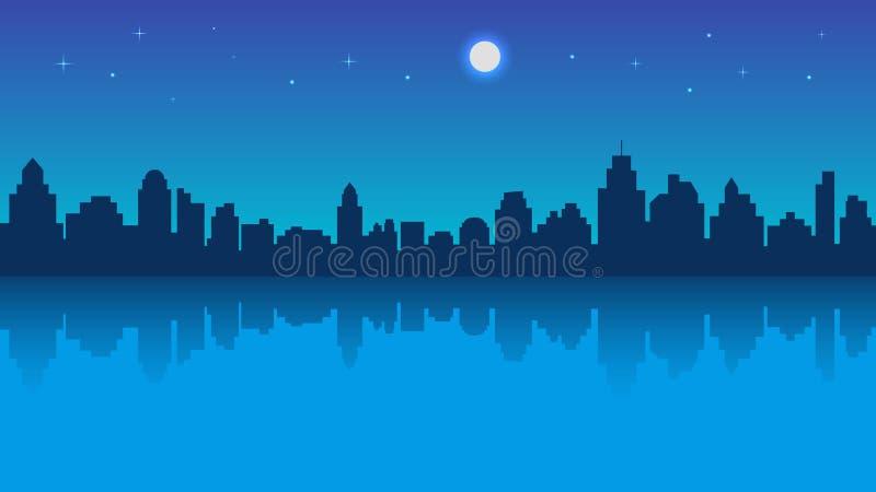 Cidade da noite com reflexão e o céu estrelado ilustração stock