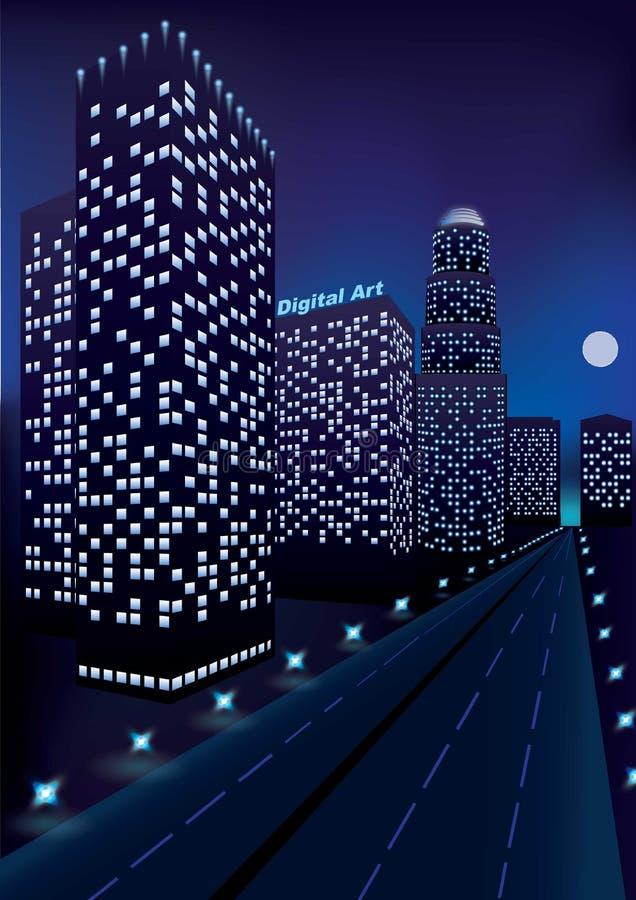 Cidade da noite com skyscrapes na perspectiva perto da estrada e da lua na obscuridade - céu azul ilustração do vetor