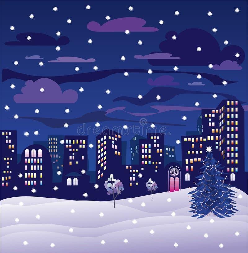 Cidade da noite de Natal ilustração royalty free