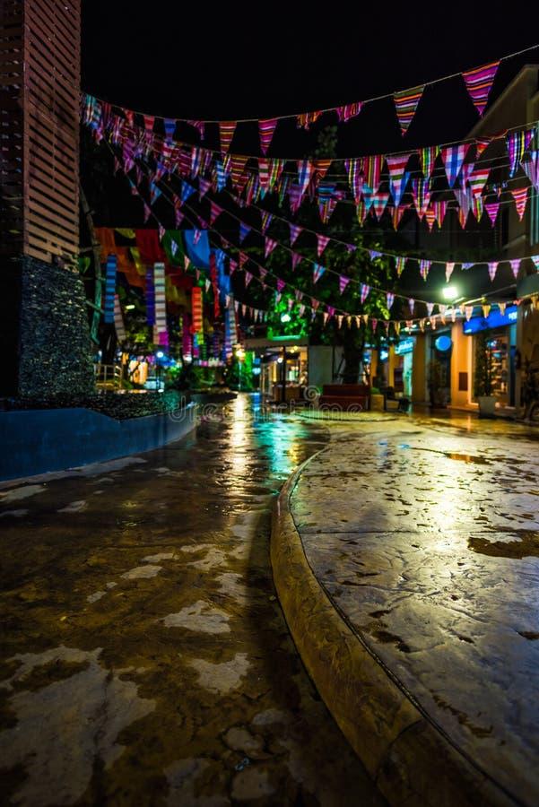 Cidade da noite em um chuvoso fotografia de stock royalty free