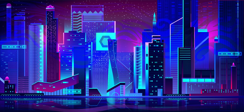Cidade da noite nas luzes de n?on Arquitetura futurista ilustração do vetor