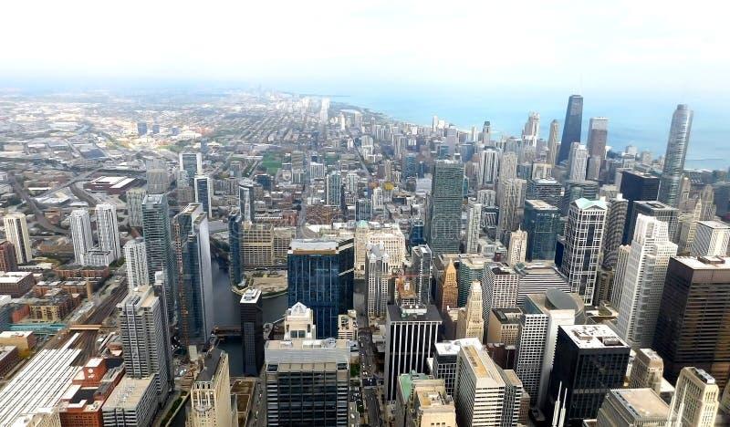 Cidade da opinião aérea da skyline de Chicago, de cima de fotos de stock royalty free