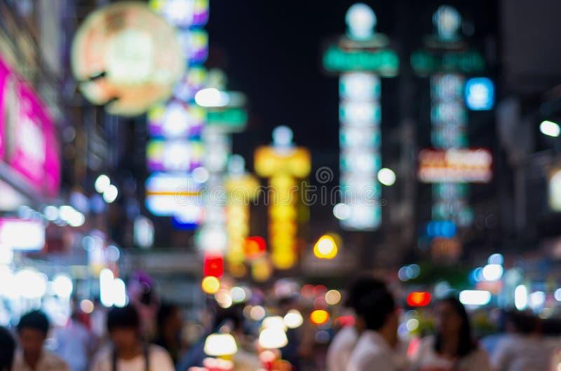 A cidade da porcelana na noite, bokeh borrado da foto fotografia de stock