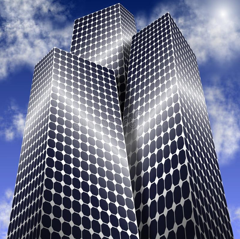 Cidade da potência solar ilustração royalty free