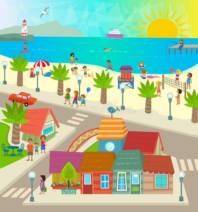 Cidade da praia ilustração stock