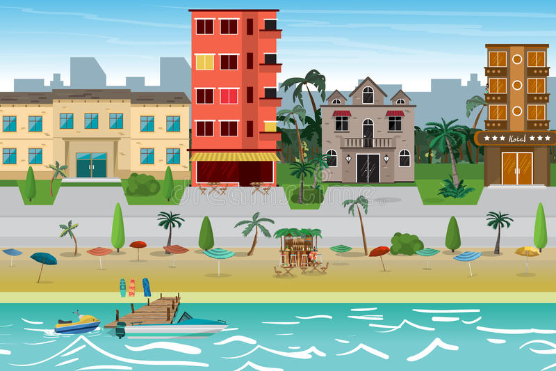 Cidade da praia do recurso da rua com hotéis A primeira linha de hotéis mim ilustração stock