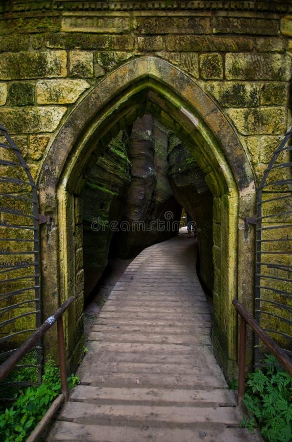 Cidade da rocha de Adrspach Teplice - a porta foto de stock royalty free