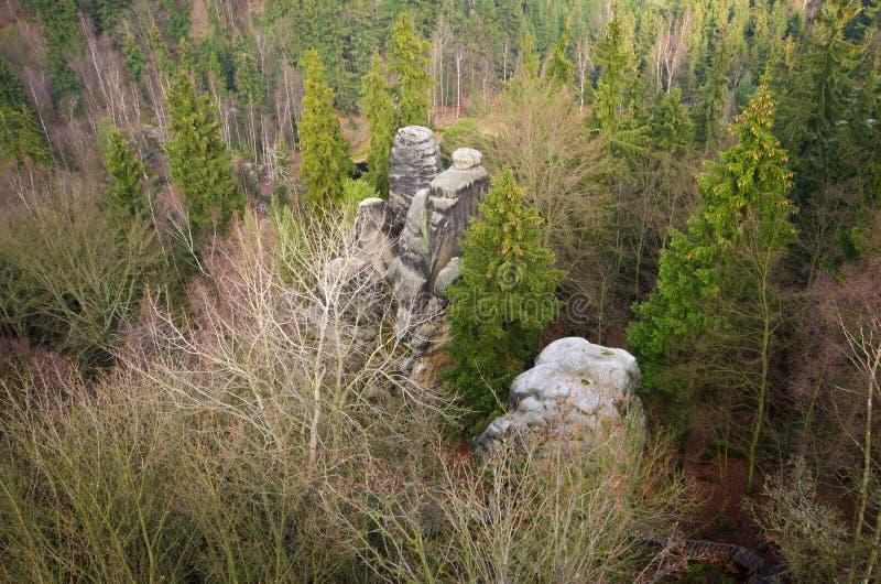 Cidade da rocha perto de Teplice, República Checa imagem de stock