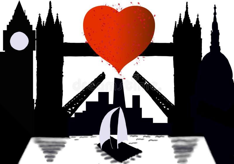 Cidade da silhueta de Londres com coração em Tamisa ilustração do vetor