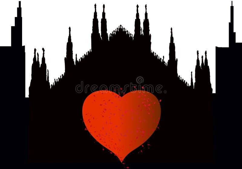 Cidade da silhueta de Milão com coração ilustração royalty free