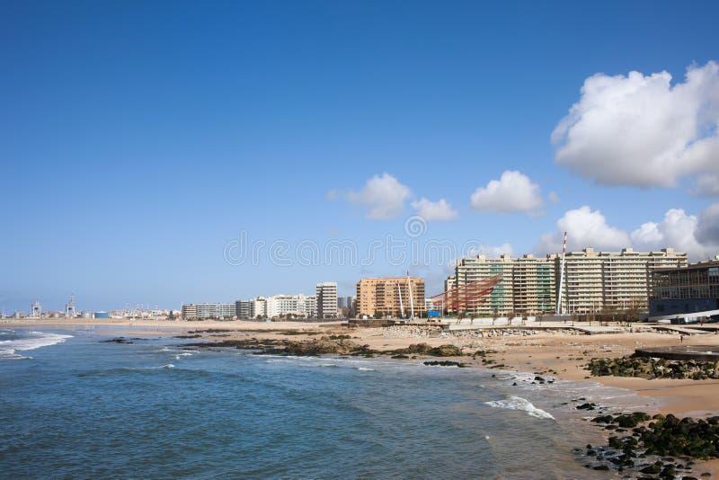 Cidade da skyline de Matosinhos em Portugal imagem de stock royalty free