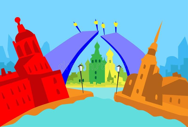 Cidade da skyline do sumário de St Petersburg Rússia ilustração royalty free